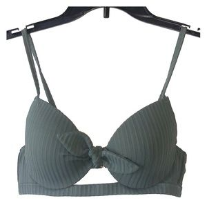 Olive Green Padded Push-up Swim Top
